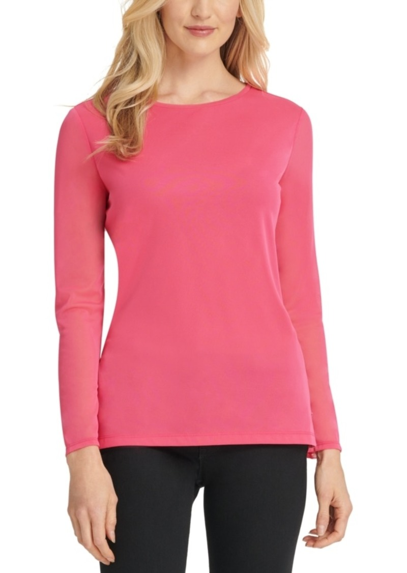 Dkny Mesh Long-Sleeve Top