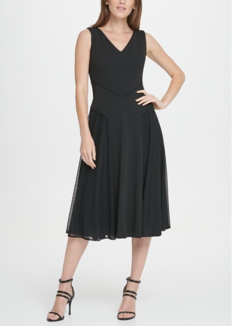 Dkny Mesh Skirt Midi Flare Dress