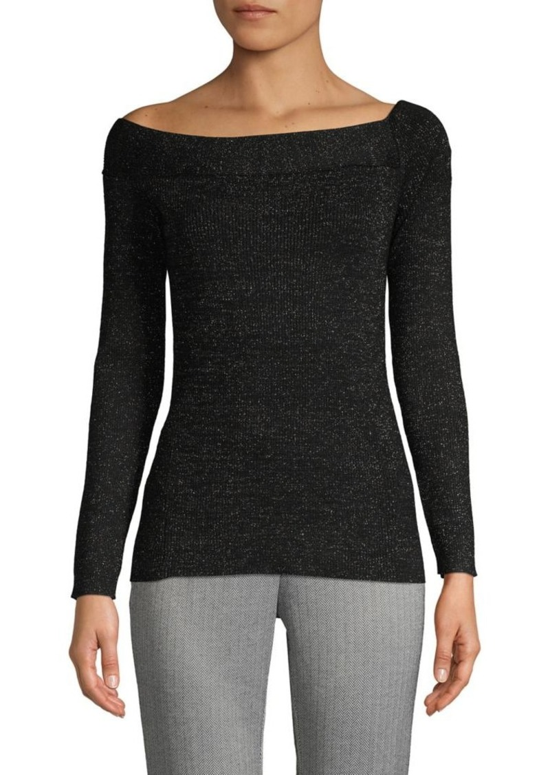 DKNY Donna Karan Metallic Asymmetrical Ballet-Neck Top