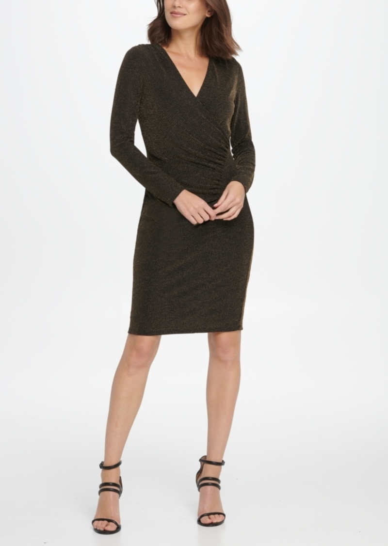 Dkny Metallic Jersey Side Ruche Sheath Dress