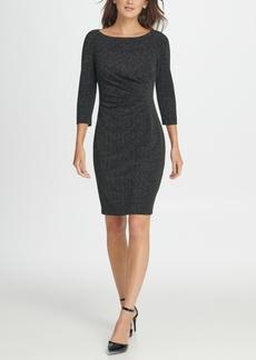 Dkny Metallic Knit Side Ruche Sheath Dress