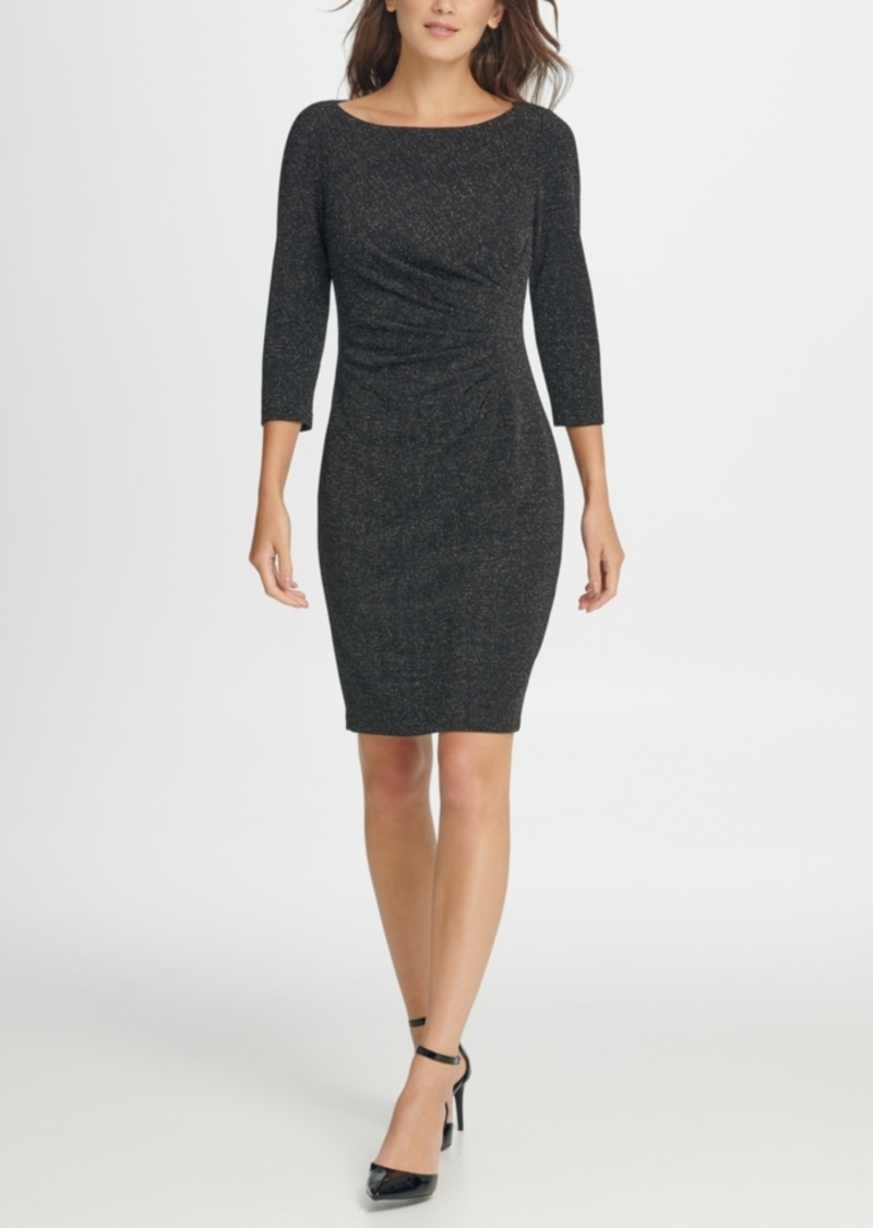 Dkny Metallic Knit Side Ruche Sheath Dress