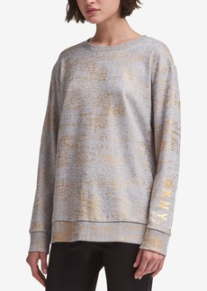 Dkny Metallic-Print Sweatshirt, Created for Macy's