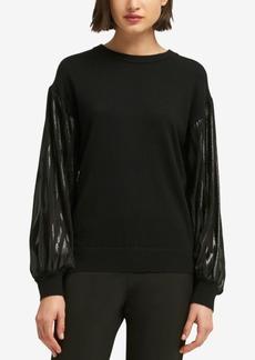 Dkny Metallic-Sleeve Sweater, Created for Macy's
