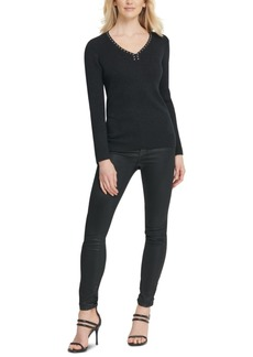 Dkny Metallic-Threaded Embellished Sweater