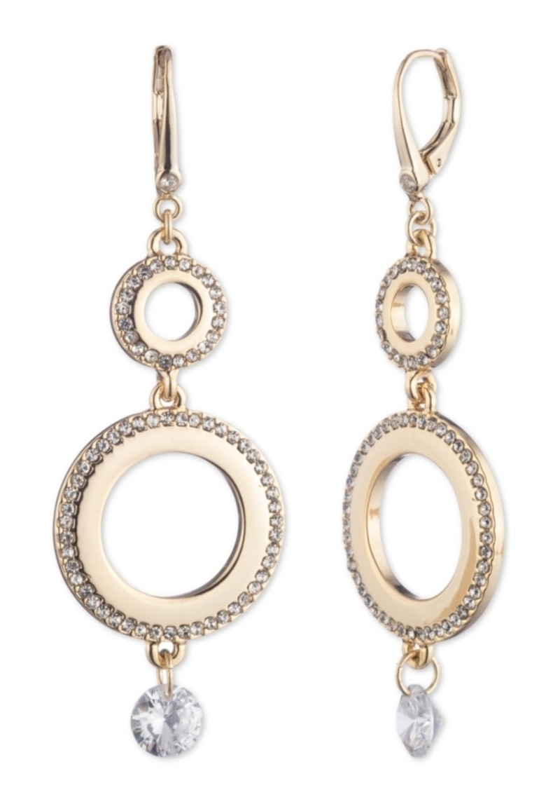 Dkny Micropave Large Double Drop Earrings