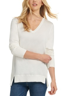 Dkny Mixed-Media High-Low Sweater