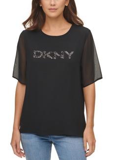 Dkny Mixed-Media Sequined Logo Top