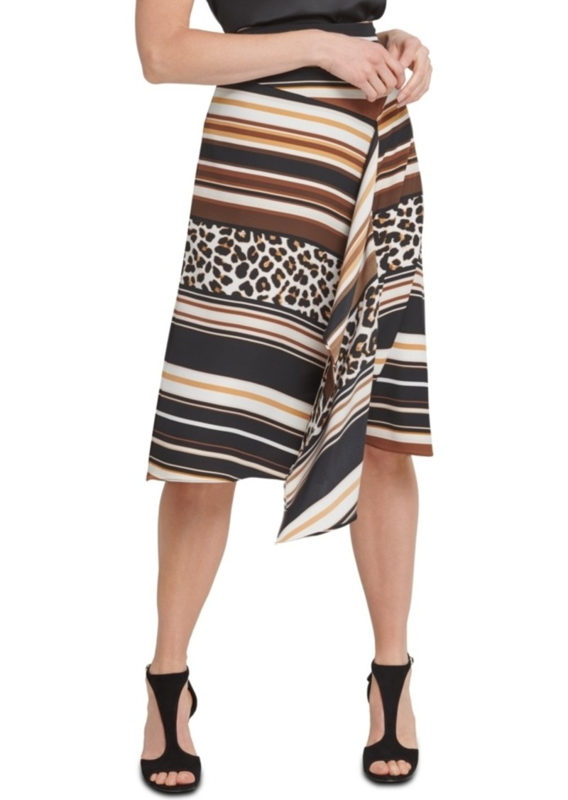 Dkny Mixed-Print Asymmetrical Skirt