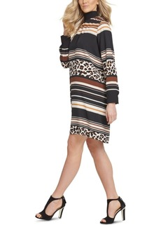 Dkny Mixed-Print Turtleneck Dress