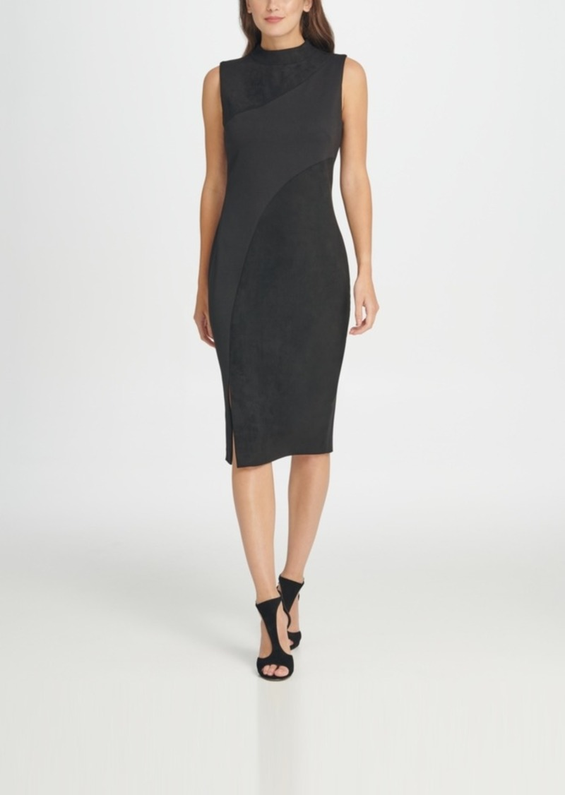 Dkny Mock Neck Seamed Suede Sheath Dress