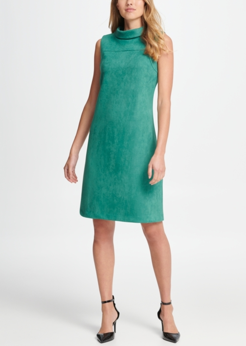 Dkny Mock Neck Suede Sleeveless Sheath Dress