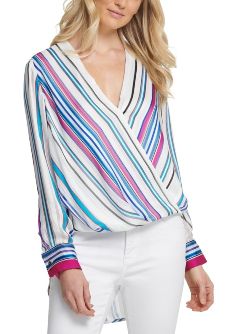 Dkny Multistripe Surplice Top