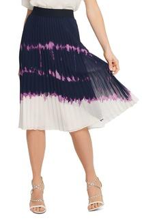 DKNY New York Printed Pleated Midi Skirt