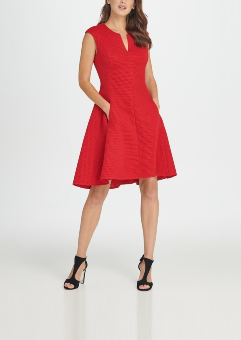 Dkny Notch Neck Fit & Flare Mesh Dress