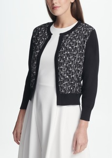 Dkny Open Front Logo Cardigan, Created for Macy's
