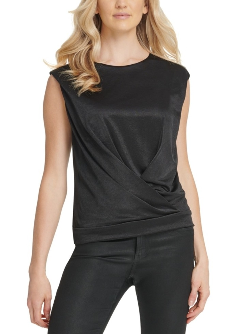 Dkny Overlap Cap-Sleeve Top