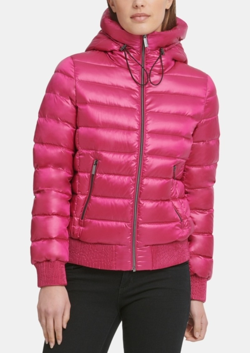 Dkny Packable Hooded Bomber Down Puffer Coat