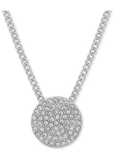 "Dkny Pave Disc 19"" Pendant Necklace, Created for Macy's"