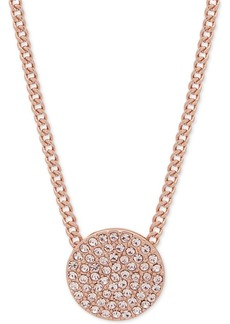 """Dkny Pave Disc 19"""" Pendant Necklace, Created for Macy's"""