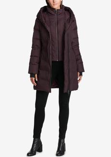 Dkny Petite Asymmetrical Faux-Leather-Trim Puffer Coat