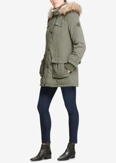 Dkny Petite Faux-Fur-Trimmed Hooded Anorak Coat
