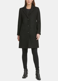 Dkny Faux-Leather-Trim Coat, Created for Macy's