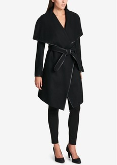 Dkny Petite Faux-Leather-Trim Wrap Coat