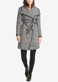 Dkny Petite Faux-Leather-Trim Wrap Coat, Created for Macy's