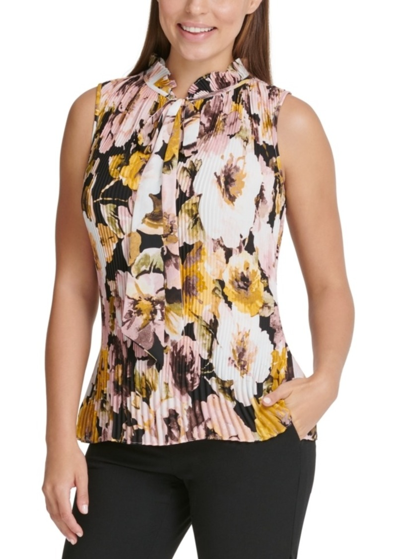 Dkny Floral Printed Pleated Top