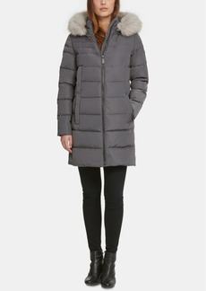 Dkny Petite Hooded Faux-Fur-Trim Puffer Coat