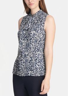 Dkny Printed Pleated Tie-Neck Top