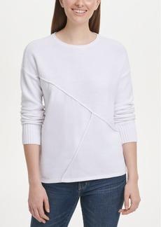 Dkny Pieced Mixed-Media Sweater