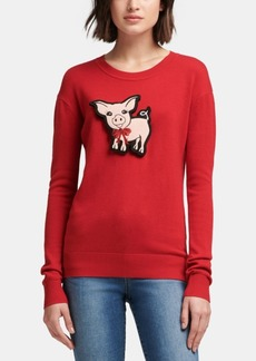 Dkny Pig-Patch Crewneck Sweater