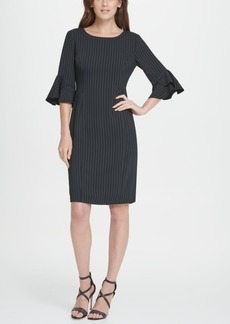 Dkny Pinstripe Flare Sleeve Sheath Dress