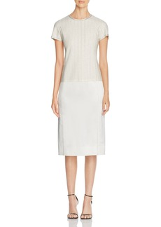 DKNY Pinstripe Mixed Media Sheath Dress
