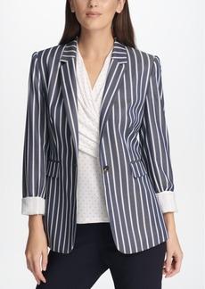 Dkny Pinstripe One-Button Blazer