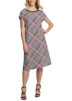 Dkny Plaid-Front Mixed-Media Dress