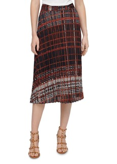 DKNY Plaid Pleated Midi Skirt