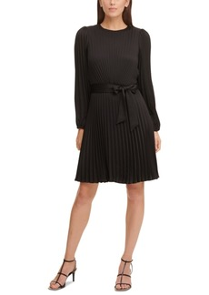Dkny Pleated Fit & Flare Dress