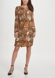 Dkny Pleated Floral Animal Shift Dress