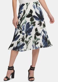 Dkny Pleated Floral-Print Skirt