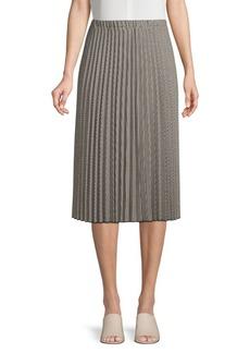 DKNY Donna Karan Pleated Houndstooth Midi Skirt