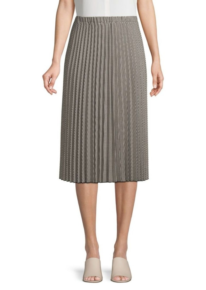 DKNY Donna Karan Pleated Houndstooth Midi Skirt