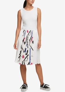 Dkny Pleated Ribbon-Trim Dress, Created for Macy's