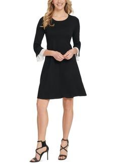 Dkny Pleated-Trim Flared-Sleeve Sweater Dress