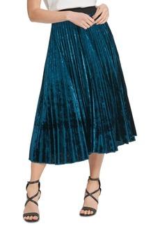 Dkny Pleated Velvet Pull-On Skirt