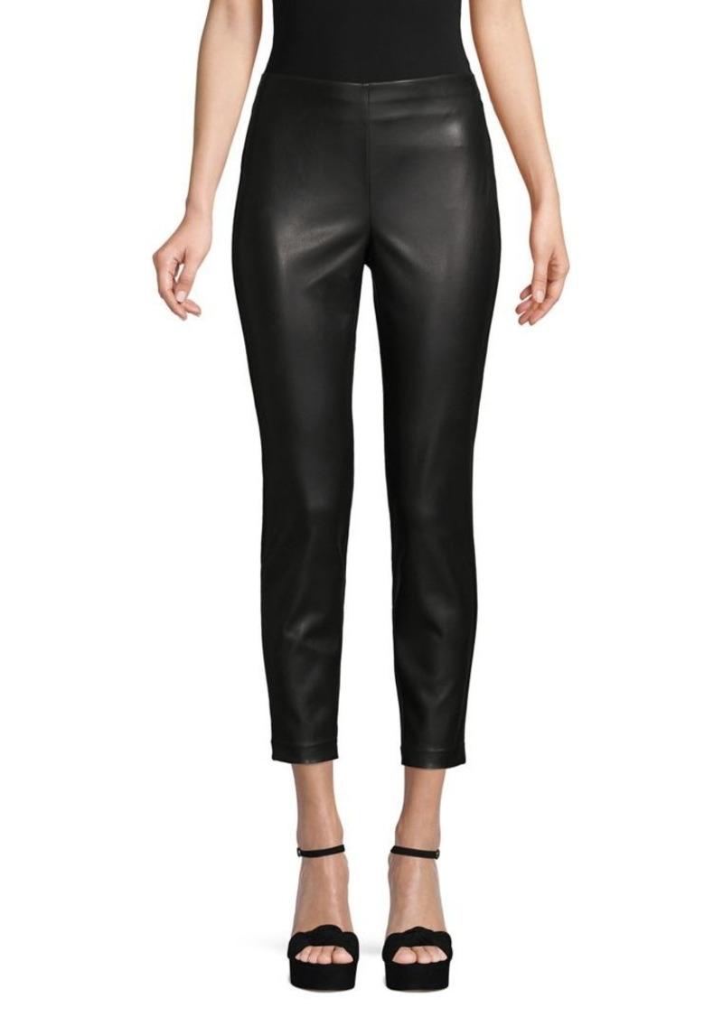 DKNY Donna Karan Leather & Ponte Crop Pants