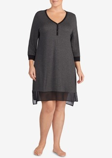 Dkny Plus Size Colorblocked Chiffon-Hem Sleepshirt