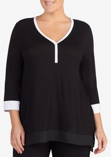 Dkny Plus Size Colorblocked Pajama Top